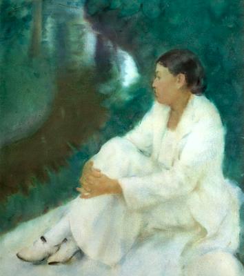 fehér és zöld harmóniája / patak partján . 67/92 cm vízfestmény . no30 . 1936 . soproni horváth józsef