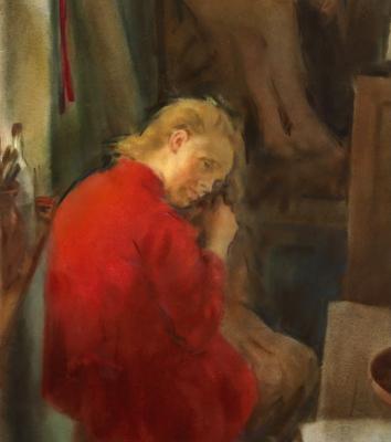 a piros rékli . 67/89 cm vízfestmény . no20 . 1935 . soproni horváth józsef